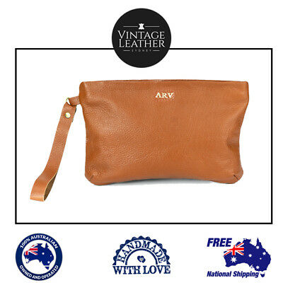 New Personalised  Leather Womens Pouch Clutch Wallet Handbag Monogram Gift Items
