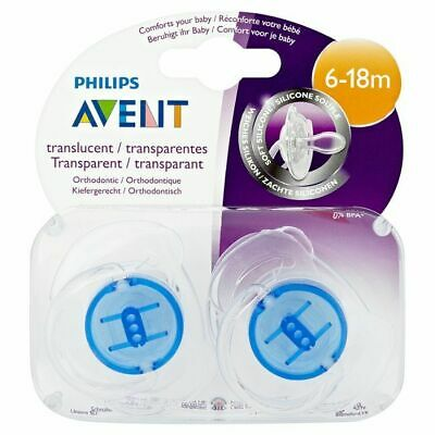 NEW Philips Avent 6-18 Months Translucent Silicone Soothers