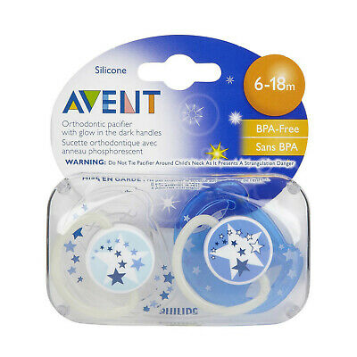 NEW Avent Silicone Soother 6 Month+ Night 2 Pack