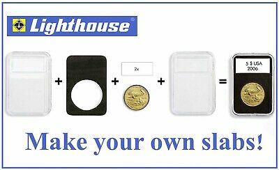 Lighthouse Quickslab Coin Holders 29mm Pack of 5 Plastic Slabs Capsules For 2MK