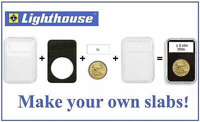 Lighthouse Quickslab Coin Holder Slabs 28mm Pack of 5 Capsules Snaps Easy Open