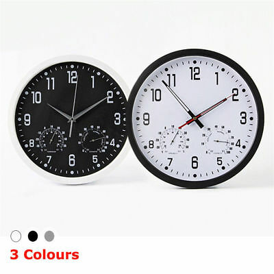 "14"" Silent Weather Monitoring Wall Mount Clock Temperature Round Quartz Display"