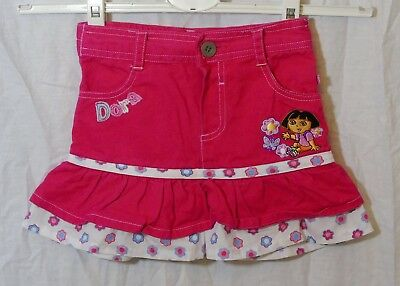 Baby Girls Mothercare Dora Explorer Pink Denim Flippy Skirt Age 18-24 Months