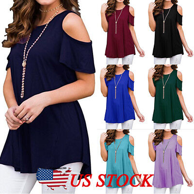 US Plus Size Womens Blouse Cold Shoulder Ladies Summer T Shirt Loose Casual Tops