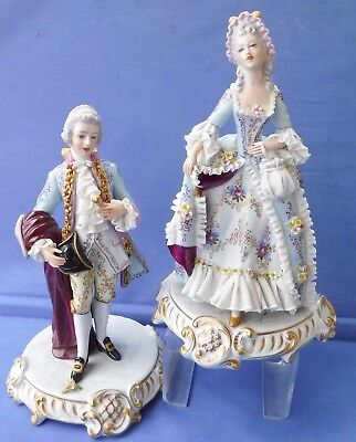 Capodimonte Dresden Lace Figurines,A Large Quality Pair with Gilding