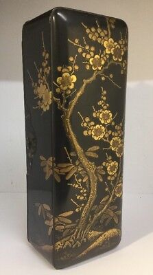 Antique TOP QUALITY Japanese Black And Gold Lacquer Box, Prunus Design