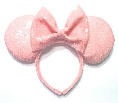 Millennial Pink Sequin Minnie Mouse Ears, Sequin Ears, Handcrafted Mickey Ears