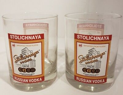 Stolichnaya Russian Vodka Set of 2 Rocks Tumbler Whiskey Ball Highball Glasses