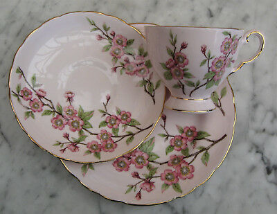 """TUSCAN BONE CHINA TRIO Pattern is """"SPRINGTIME"""". Lovely Pink Set with Blossoms."""