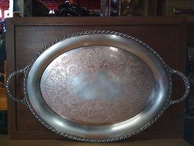 Vintage Silver Plated Oval Serving Tray by Wm Rogers #3681