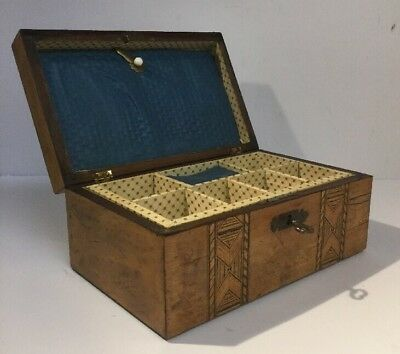 Quality Antique Victorian Wooden Marquetry Jewellery Box Inlaid & Original Key