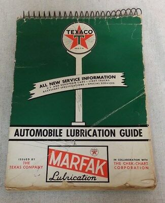 Texaco Marfak Automobile Lubrication Guide 1957 Service Specifications Look!