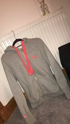Superdy Grey Zip Hoodie With Pink Embroidery