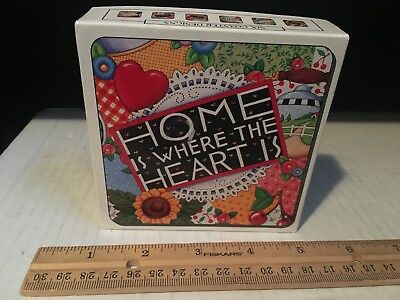 Set of 5 Mary Engelbreit Home is Where The Heart Is Cork Backed Coasters w/Box