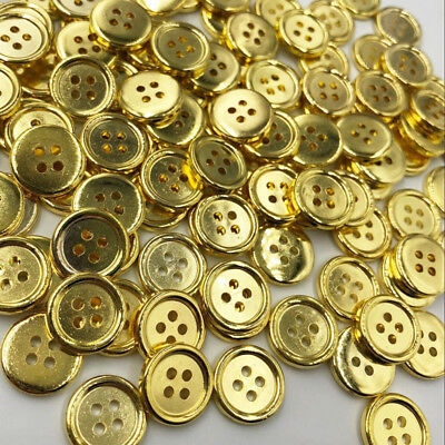 100 pcs Gold Plastic Buttons 15mm Sewing Craft 4 Holes PT190
