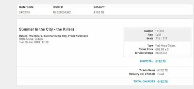 The killers tickets RDS dublin 26th June x 2