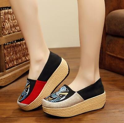 263359dc846 CHIC WOMENS ETHNIC Wedge Mid Heel Sandals Ankle Strap Espadrille ...