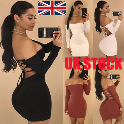 UK Women Sexy Bodycon Long Sleeve Midi Bandage Dress Evening Cocktail Party Club