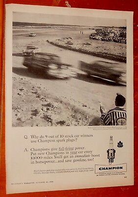 1958 Chevy Delray Plymouth Savoy Stock Car Racing At Daytona Champion Plugs Ad