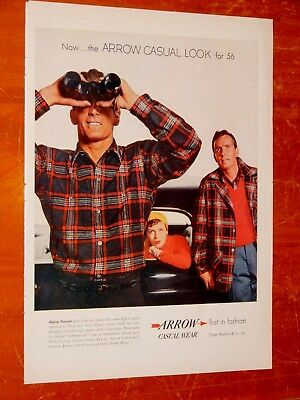 1956 Arrow Plaid Men's Shirts Ad With Black Thunderbird - Retro 50S Vintage
