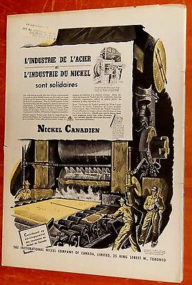 French 1947 Inco Canadian Nickel & Steel Factory Production Art Ad - Vintage 40S