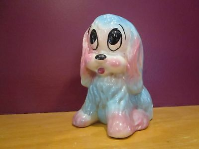 "1960's Sad eyed puppy dog planter blue pink small cute 5"" tall"