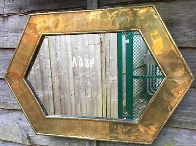 Large Antique Arts And Crafts Brass Framed Mirror