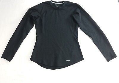 Patagonia Capilene Women base layer black Top long sleeve Shirt Polyester sz M