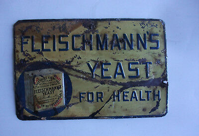 Antique Fleischmann`s Yeast For Health Tin Sign As / Is Condition