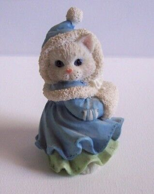 """Winter Calico Kittens """"i'll Be Home For Christmas"""" Collectible Figurine"""