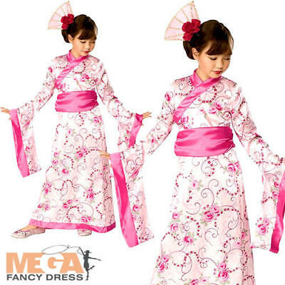 Asian Princess Geisha Girls Fancy Dress Japanese National Outfit Kids Costume