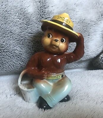 """Vintage Norcrest 6"""" Smokey The Bear Bank  With Bucket"""
