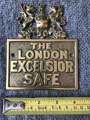 Original Rare Antique Heavy Brass London Excelsior Safe Plaque