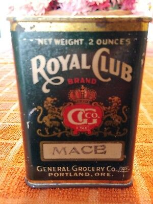 Vintage ROYAL CLUB MACE Metal Spice Tin - Nice Graphics