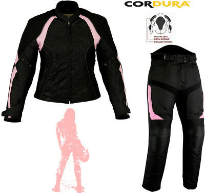 Ladies Pink Speed Maxx Womens Motorbike Motorcycle Textile Jacket Trousers Suit