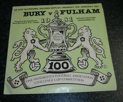 Bury v Fulham FAC Replay 1981 @West Brom