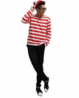 Halloween Book Week Men's Wheres Wally Fancy Dress Costume Glasses&Hat Outfit AU