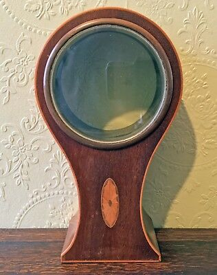 Antique Edwardian Inlaid Balloon Clock Case and Glass