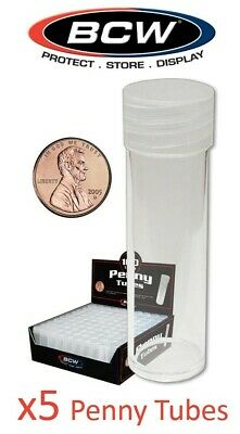 5 Round US Penny Coin Tubes BCW Clear Plastic Cent Storage Tubes w/ Screw On Cap
