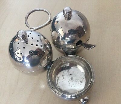 Vintage SILVER PLATED Mappin & Webb 3 Piece Cruet Set - PRINCES PLATE
