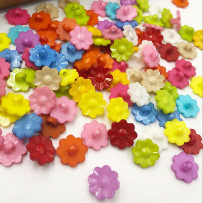 100pcs Mixed Resin Backhole Sewing Buttons Scrapbooking Flowers Bouton PT117