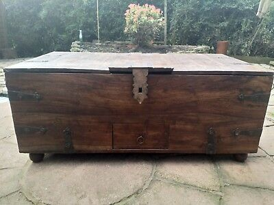 Antique 18th Century Georgian English Oak Large Mule Chest Coffer