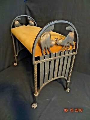 Vintage Spooky Black Cats ~Cast Iron Fireside Bench Seat ~Cat Paw feet Halloween