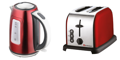 1.7L Cordless Jug Electric Kettle & 2 Two Slice Wide Slot Toaster Set Red