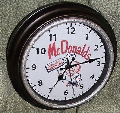 "11"" McDONALDS HAMBURGER CLOCK - WORKING"