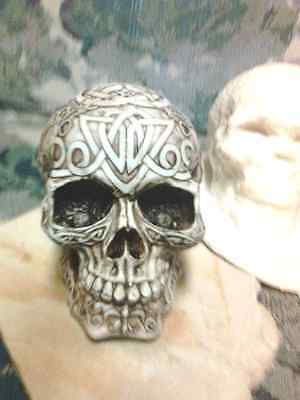 Human 3/4 sized Skull with Celtic Runes Mold Latex for Concrete , Plaster or Wax