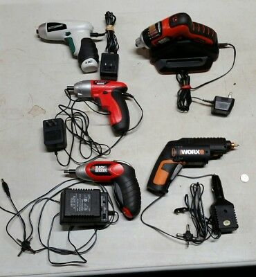 Lot of 5 Cordless Screwdrivers - B&D, Greatneck, Worx, & Master Force