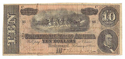 T-68 PF-42 CR-551 1864 Confederate States of America $10 Note No.64904