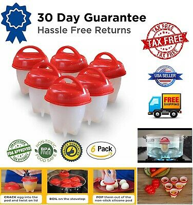 Egglettes Maker 6 Pack Egg Cooker - Hard Boiled Eggs without the Shell Eggies US