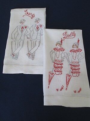 "PR. VINTAGE 1920's LINEN HAND EMBROIDERED GUEST TOWELS..FLAPPER ""GUYS & DOLLS"""